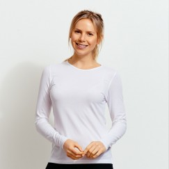 Ladie's white long sleeve crew neck Valueweight FOTL Tee