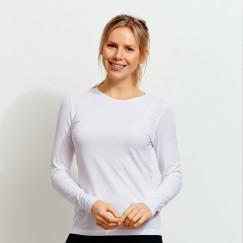 Ladie's white long sleeve crew neck Valueweight FOTL Tee