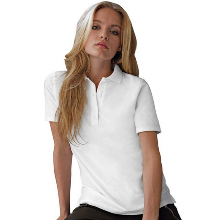 Anvil double pique women 39 s white polo shirts for White shirt for ladies