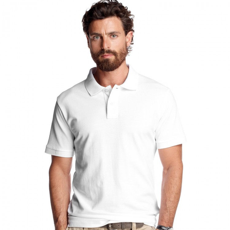 Men 39 s heavyweight fruit of the loom white polo for Men s polyester polo shirts