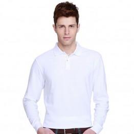 B&C Collection Men's Long Sleeve Plain White Polo Shirt