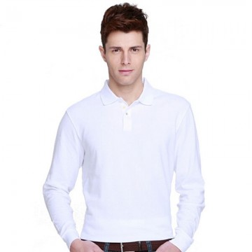 B&C Collection Men's Long Sleeve Plain White Polo Shirt
