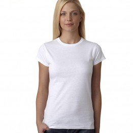 Women Fruit Of The Loom Fitted White T-Shirt