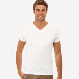 Gildan Plain White 100% Soft style cotton V-neck T-Shirt