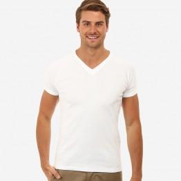 Gildan Plain White 100% Soft style cotton V-neck T-Shirt