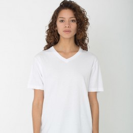 Women Gildan Lady Premium Cotton V-neck White T-Shirt