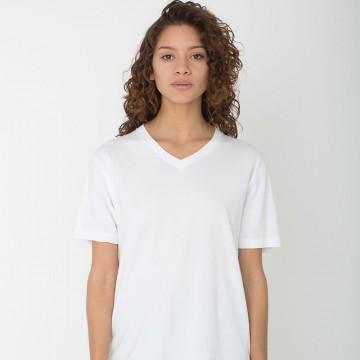 Women Gildan Lady Premium Cotton V-neck White T-Shirt