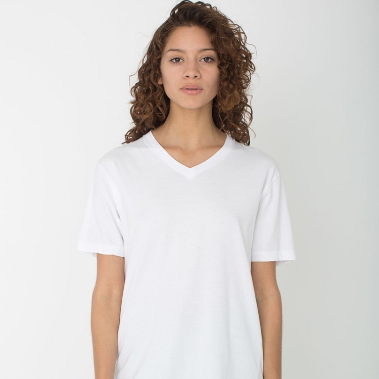 Women Gildan Premium Cotton V Neck White T Shirt