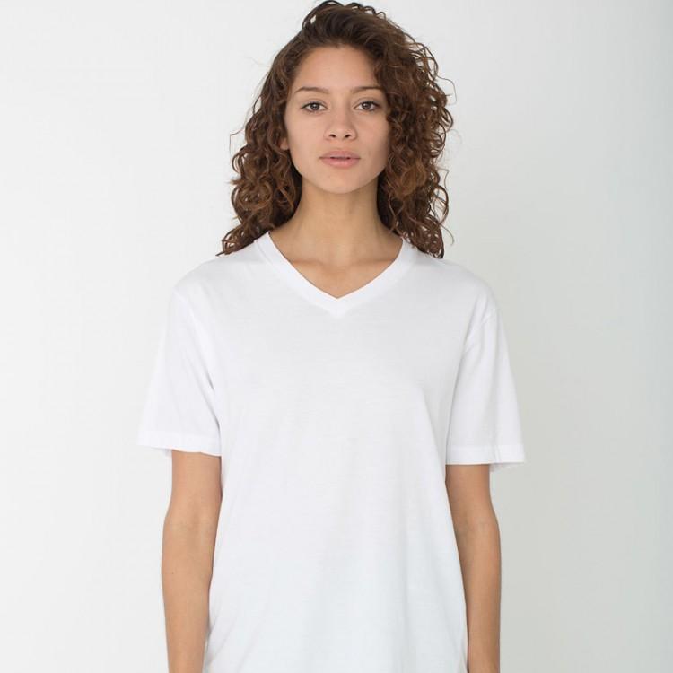 aed84dc0 Women Gildan Lady Premium Cotton V-neck White T-Shirt