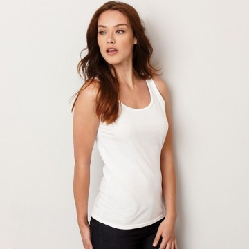 Gildan Women's Softstyle pre shrunk Cotton White Tank Top